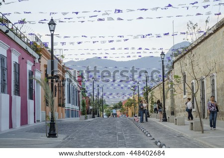 OAXACA MEXICO-MARCH 21, 2016: Street view in Oaxaca Mexico on March 21 2016. Oaxaca is the capital and largest city of the Mexican state of the same name. - stock photo