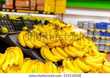 OAXACA, MEXICO - NOV 1, 2016: Bananas in the supermarket Soriana, a Mexican public company and a major retailer in Mexico with more than 824 stores