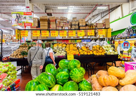 OAXACA, MEXICO - NOV 1, 2016: Fruit and vegetables section of the supermarket Soriana, a Mexican public company and a major retailer in Mexico with more than 824 stores