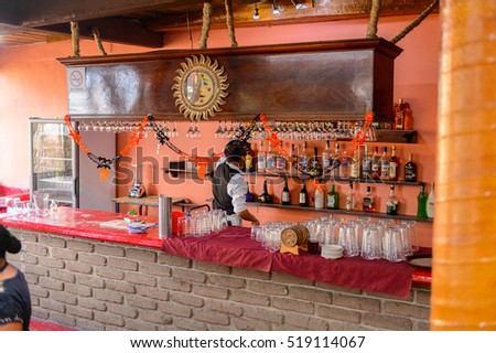 OAXACA, MEXICO - NOV 1, 2016: Interior of the Restaurant La Choza del Chef in Oaxaca, the place with national Mexican food