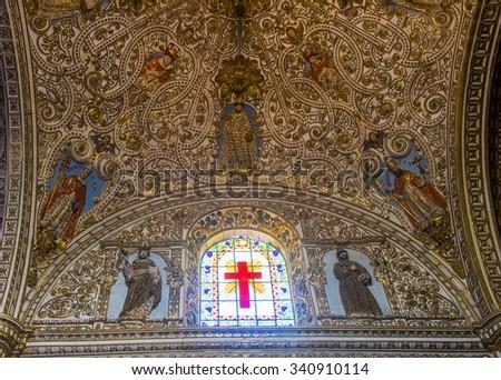OAXACA , MEXICO - NOV 02 : The interior of Santo Domingo de Guzman church in Oaxaca , Mexico. on November 02 2015  the church was founded by the Dominican Order in 1570. - stock photo