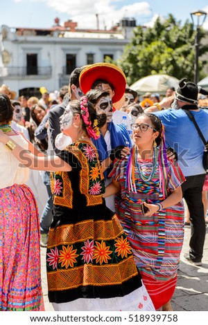 OAXACA, MEXICO - OCT 31, 2016: Unidentified people dance and celebrate the Day of the Dead (Dia de los Muertos), national Mexican holiday, UNESCO Intangible Cultural Heritage of Humanity