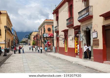 OAXACA, MEXICO - SEN 08: The street of Oaxaca, Mexico, 08 September 2012. The city architecture of Oaxaca is protected by UNESCO - stock photo