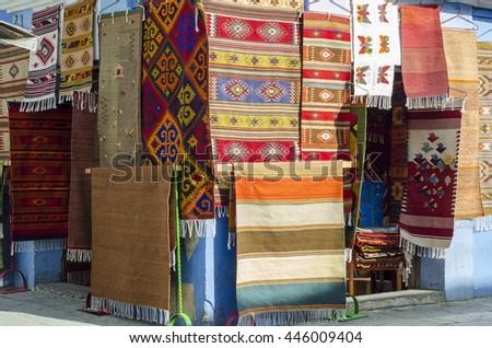 OAXACA,OAXACA,MEXICO- MARCH 21, 2016: Typical carpets as a souvenir in a store in Oaxaca, Mexico - stock photo