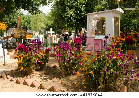 OAXACA,OAXACA,MEXICO- NOVEMBER 2, 2015: Grave decorated with colorful flowers for the all saints day in a cemetery in Oaxaca, Mexico. - stock photo