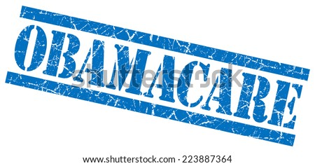 obamacare blue grungy stamp on white background - stock photo