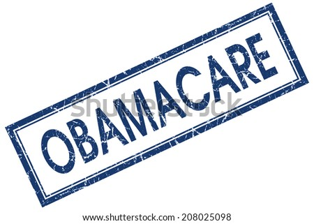 Obamacare blue square grungy stamp isolated on white background - stock photo