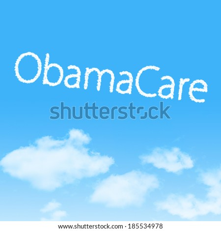 ObamaCare cloud icon with design on blue sky background - stock photo