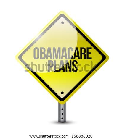 obamacare plans road sign illustration design over white - stock photo