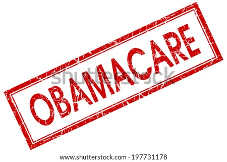 Obamacare red square grungy stamp isolated on white background - stock photo