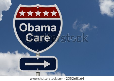 ObamaCare Sign, A red, white and blue highway sign with words ObamaCare and an arrow sign with sky background - stock photo