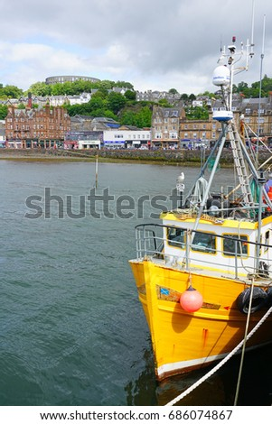 OBAN, SCOTLAND -15 JUL 2017- Boats in the harbor in Oban, a town in Argyll and Bute known as the seafood capital of Scotland.
