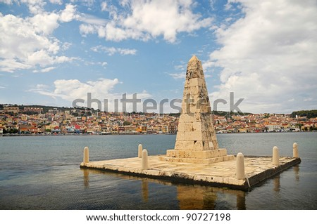 Obelisk - a symbol of freedom. Port of Argostoli, Kefalonia, Greece - stock photo
