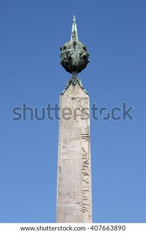 Obelisk of Montecitorio in Rome, Italy - stock photo