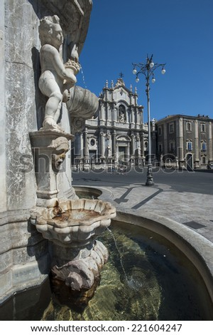 obelisk of the fountain of the elephant and the cathedral of Santa Agata in square of the Duomo, Catania, Sicily, Italy