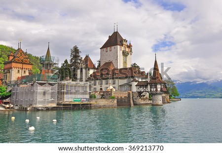 OBERHOFEN, SWITZERLAND - MAY 9, 2012: View of the Oberhofen castle, Switzerland on May 9, 2012.