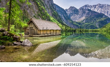 Obersee lake and small wooden cottage, Alps, Germany, Europe