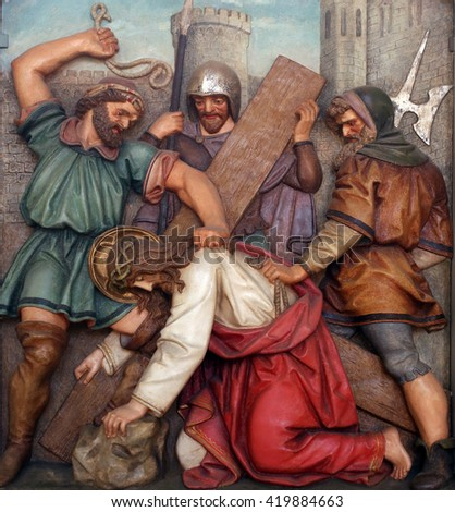 OBERSTAUFEN, GERMANY - OCTOBER 20: Jesus falls the first time, 3rd Stations of the Cross, the parish church of St. Peter and Paul in Oberstaufen, Germany on October 20, 2014.