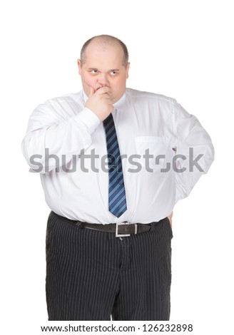 Obese businessman in a shirt and tie making gesturing, isolated on white - stock photo