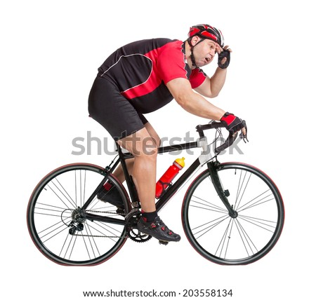 obese cyclist with difficulty riding a bicycle isolated on white background. Fat cyclist is tired on the bike. Recreational cyclist riding a bike. Sweaty cyclist is exhausted on a bicycle.