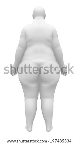 Obese Female Figure - Back view - stock photo