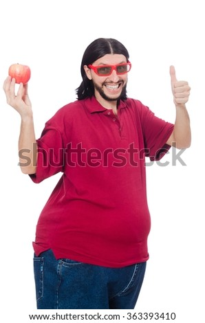 Obese man isolated on the white - stock photo