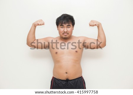 Obese men - stock photo