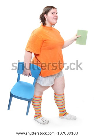 Obese school girl on a white background. Healthy lifestyle and nutrition concept. - stock photo