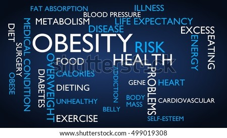 Obesity, health, medical, risk word tag cloud - blue, English variant, 3D rendering