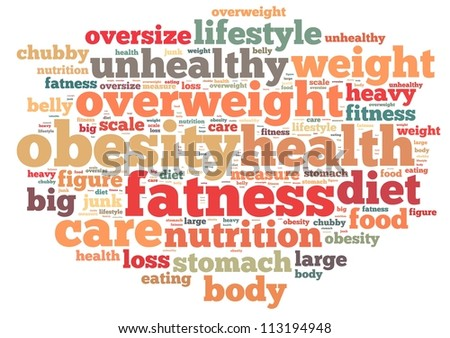 obesity info-text graphics and arrangement concept on white background (word cloud) - stock photo