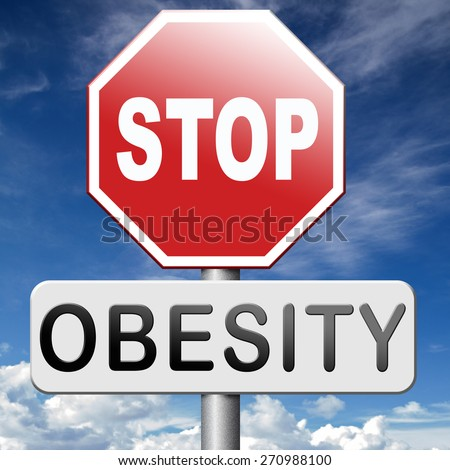 obesity prevention campaign with low fat diet for obese children and adults with eating disorder - stock photo