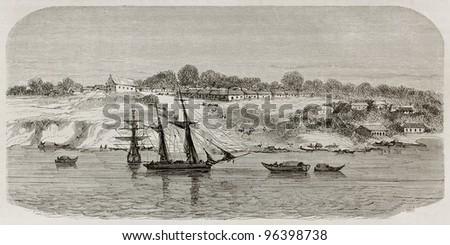 Obidos old view, Brazil. Created by Riou, published on Le Tour du Monde, Paris, 1867 - stock photo