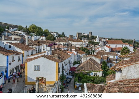 Obidos Portugal. 30 September 2016. view of Obidos, Obidos is an ancient medieval Portuguese village, from the 11th century, still inside castle walls. Obidos, Portugal.