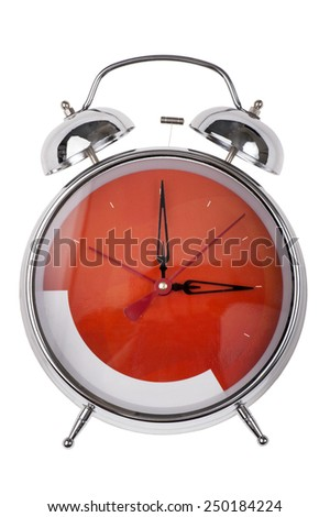 object isolated on white - metal alarm clock - stock photo