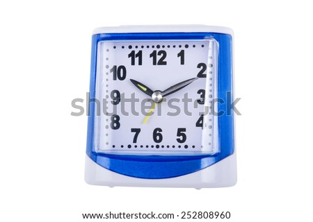 object isolated on white - plastic alarm clock - stock photo
