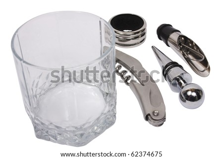 Object isolated on white: tools - corkscrew and stoppers near empty glass