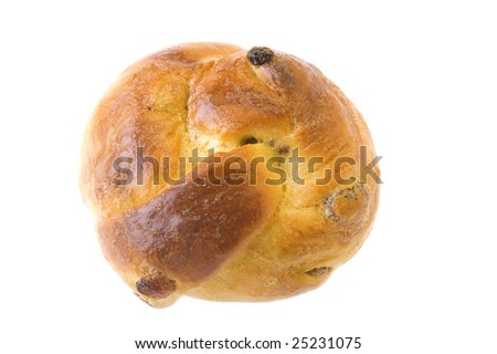 object on white - baking food - bun with sultana