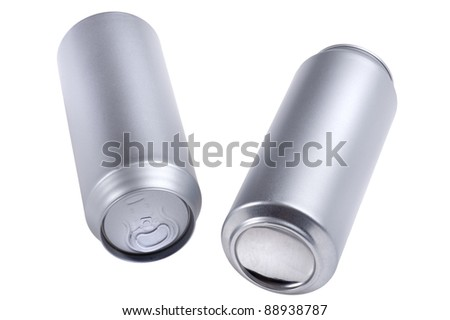 object on white - beverage can close up - stock photo