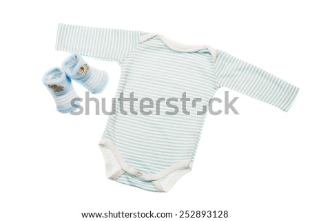 object on white - clothes for baby close up - stock photo