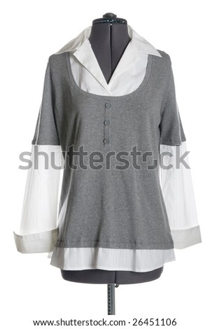 object on white - dressmakers mannequin with clothes