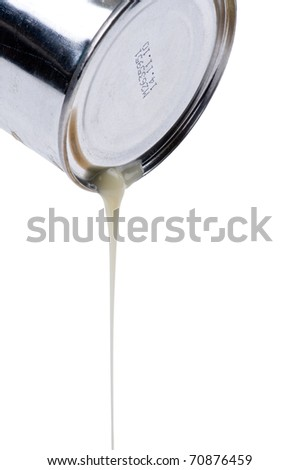 object on white - food canned milk close up