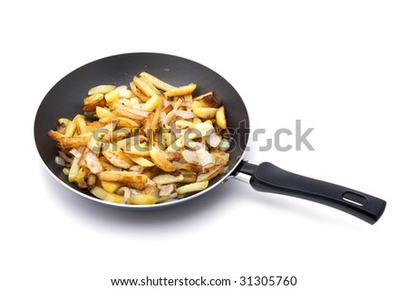 object on white - food fried potatoes