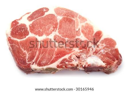 object on white - food raw pork rib - stock photo