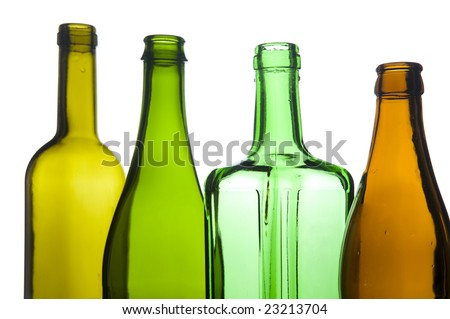 object on white - Glass bottle closeup