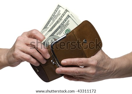 object on white - money on hand