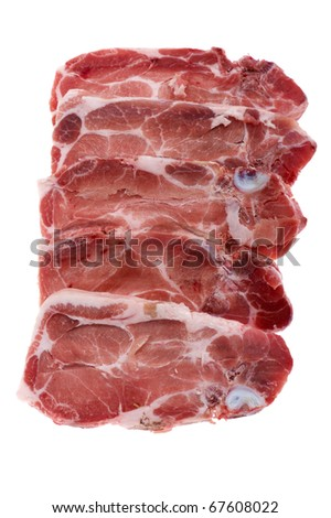 object on white - raw food beef close up