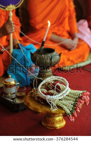 Object Wedding with Candle prepared to monk for worship background  with decorate in Thai wedding ceremony, Buddhist tradition for Buddhist rituals. Select focus - stock photo