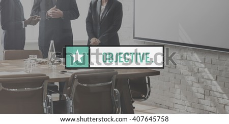 Objective Goal Target Aim Purpose Strategy Vision Concept - stock photo