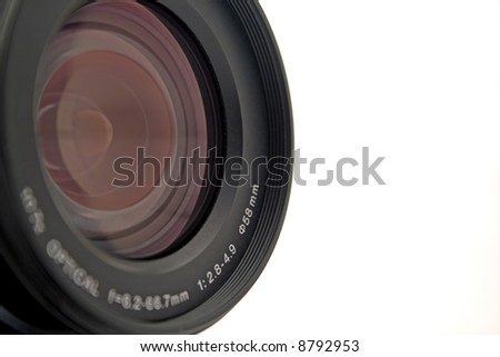 Objective of a digital camera on a white background. isolated
