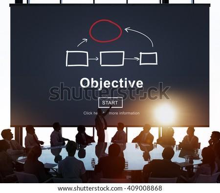 Objective Plan Process Tactics Vision Concept - stock photo